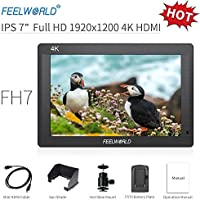 """Feelworld FH7 Camera Monitor 7 """"4K HDMI Ultra HD 1920x1200 Field Video LCD Schermo IPS 1200: 1 Rapporto di contrasto elevato per Cam Steady, DSLR Rig, Kit videocamera, Stabilizzatore palmare"""