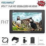 Feelworld FH7 Caméra Monitor 7' 4K HDMI Ultra HD 1920x1200 Champ Vidéo LCD IPS écran 1200:1 Rapport de Contraste élevé pour CAM Steady, DSLR Rig, Kit Caméscope, Stabilisateur de Poche