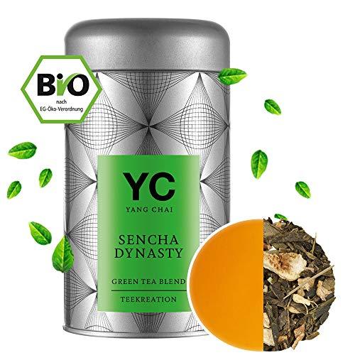 Bio Sencha Grüntee Sencha Dynasty Premium lose Blätter Grüner tee Green Tea von YANG CHAI Mit Einzigartigem Aroma Und Einem Hauch Erfrischender Zitrone das ideale Tee Geschenk für Teeliebhaber in stabiler Teedose -