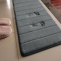 Tapis de bain antidérapant et absorbant souple en mousse visco-élastique 50x160cm, gris, Taille unique