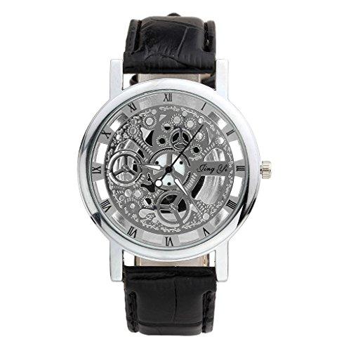 JSDDE Uhren,Stilvoll Hollow Durchschauen Dial Quarzuhr Roemisch Ziffern Fake mechanische Armbanduhr,Silber+Schwarz