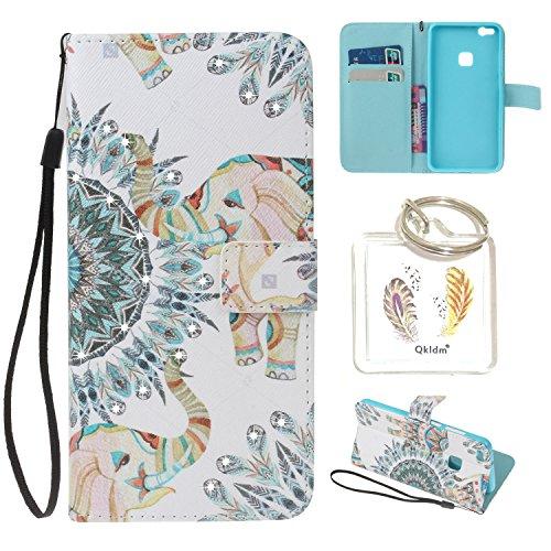 HUAWEI P10 Lite PU Leder Silikon Schutzhülle Diamant Handy case Book Style Portemonnaie Design für HUAWEI P10 Lite + Schlüsselanhänger (IUY) (9)