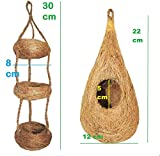 #9: Pure coconut fiber nest and swing toy COMBO for finches and sparrows