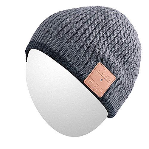 Cappello Beanie Qshell esterna Bluetooth con Bluetooth Wireless Headphones Cuffie auricolari audio di musica a mani libere telefonata per l'inverno sci escursionismo Sport Fitness palestra - Grigio