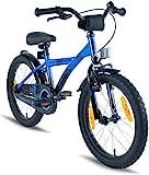 PROMETHEUS Vélo enfant pour fils 18 pouces en bleu & noir avec béquille latérale | Frein à tirage latéral et frein à rétropédalage | à partir de 6 ans | 18' BMX Edition 2017