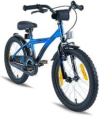 Idea Regalo - Prometheus Bicicletta per bambini e bambine dai 6 anni nei colori blu e nero da 18 pollici con freno a V in alluminio e contropedale - BMX da 18
