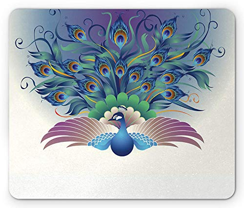 Peacock Mouse Pad, Ornate Peacock with Majestic Tail Feather Dangling Around Birds Wing Illustration, Standard Size Rectangle Non-Slip Rubber Mousepad, Multicolor -