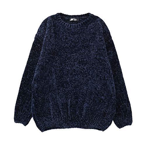 SIKESONG Frauen schicke Stricken Pullover o-Neck Long Sleeve Chenille Pullover Pullover weiblich schwarz -