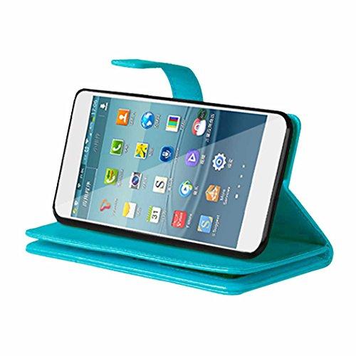 Samsung Galaxy J5 2016 J510 Fall Flip Folio Case Solid Farbe Premium Synthetik-Leder-Kasten-Standplatz-Mappen-Kasten-Kasten mit 9 Karten-Bargeld-Slots für Samsung Galaxy J5 2016 J510 ( Color : Brown , Blue