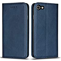 DENDICO Case for Apple iPhone 7 / iPhone 8, Classic Leather Wallet Case Flip Notebook Style Cover with Magnetic Closure, Card Holders, Stand Feature - Blue