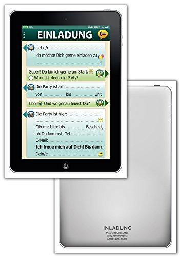 Preisvergleich Produktbild 12-er Kartenset mit Einladungskarten im Tablet-, Handy-, Smartphone-Look mit Smileys, Emojis bzw. Emoticons - Witziges SMS-Chat-Fenster für die Kinder-Geburtstags-Party