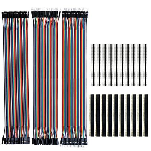 KeeYees 120pcs 3x30 cm Jumper Wire Drahtbrücken Set 40pin Male zu Female, Male zu Male, Female zu Female mit 20pcs Kopfleisten Single Reihe 40pin PCB Stiftleiste 2,54mm für Arduino Raspberry Pi -