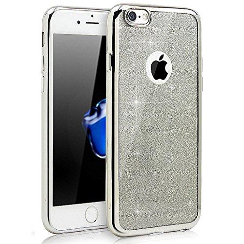 Custodia iPhone 5S, Cover iPhone 5, Yoowei® diamante di Bling Custodia Chiaro Cristallo Ultra Sottile Morbido Placcatura TPU Gel Case Cover per Apple iPhone SE/5/5s, Oro #Silver