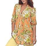 ❤️ ❤️Blusen Shirt Tops Luckycat 2018 Neu Heißer Verkauf Mode Damen Shirts Blusen Tops Frauen Vintage Blumendruck V Ausschnitt Tunika Tops Plus Size Shirts Blusen Tops (Gelb, L)
