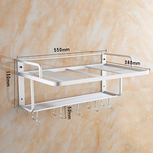 MXueei Küchenablage ZfgG Küchenregal, Wand-Aluminium-Mikrowelle Racks, Küche Supplies Regale mit Haken, Ofen Racks (größe : Double Row Hook)