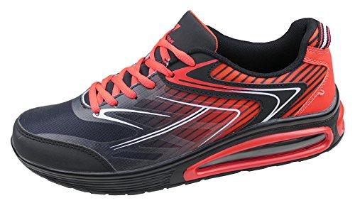 gibra Damen Sneaker Sportschuhe, Art. 5137, Sehr Leicht und Bequem, Schwarz/Rot, Gr. 36-41 Schwarz/Rot