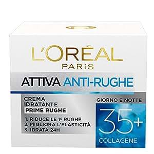 L'Oréal Paris Attiva Antirughe 35+ Crema Viso Idratante Antirughe Giorno e Notte con Collagene, 50 ml