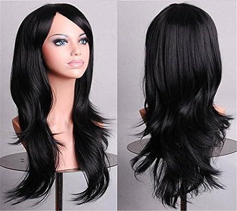 Cheveux multicolore nouveau mode Long Big cheveux chaleur résistant Multi couleur perruque femmes ondulée pour Cosplay Party , natural black