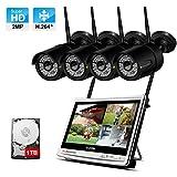Système de Vidéo Surveillance WiFi avec 12 Pouces LCD Moniteur, Jennov 1080P HD kit de Caméra Sécurité sans Fil, 4CH WiFi NVR avec 4pcs Caméra IP Extérieure, IP66 Etanche, 1TB Disque Dur Inclus