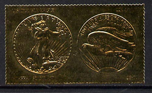 Staffa 1980 US Coins (1907 Double Eagle $20 coin both sides) on £8 perf label embossed in 22 carat gold foil (Rosen 903a) u/m COINS AMERICANA BIRDS OF PREY JandRStamps -