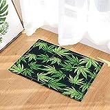fdswdfg221 Vecteur Plante Décor Cannabis De Marijuana Feuilles en Tapis Noir Tapis...