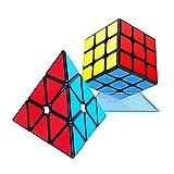 HZZ Juego De Cubos De Velocidad, Juego De Cubos MáGicos De 5.6x5.6x5.6 Cubo De Rompecabezas Liso De Cubo De PiráMide (Pegatina)