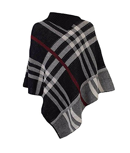 Femmes New Tartan Polo cou Pull Châle chaud Poncho One Taille. One Taille 8à 22 Noir