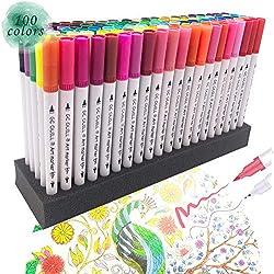 100 rotuladores de punta fina con doble punta para rotuladores y rotuladores de colores para niños, adultos, libros para colorear, planificador, calendario, proyectos de arte GC-100 W