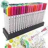 100 Farben Wasserfarben Stifte mit zwei Spitzen, Pinselstift Set Fasermaler , Aquarellstifte Auf Wasserbasis Graffiti Pens GC-100W