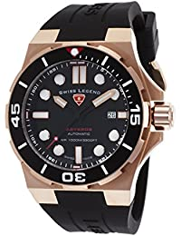 Swiss Legend Men's Abyssos 46mm Black Silicone Band Steel Case S. Sapphire Crystal Automatic Quartz Watch 10062A-RG-01
