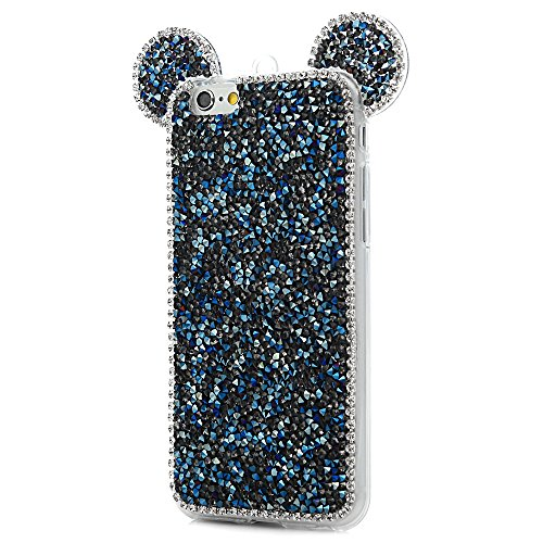 MAXFE.CO Schutzhülle Tasche Case für iPhone 6 Plus/6S Plus TPU Silikon Cover mit Diamanten Etui Protective Schale Bumper Silber Transparent