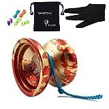 YOYO MAGIC YOYO N12 Shark Honor Professional Nicht reagierende YoYo Ball mit Tasche + 5 Strings + Handschuh für Geschenk Spielzeug, Metall (Rot mit goldenen)