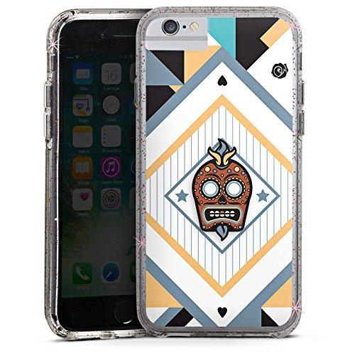 Apple iPhone 6 Bumper Hülle Bumper Case Glitzer Hülle Skull Abstrakt Abstract Bumper Case Glitzer rose gold
