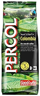 Percol Fairtrade Colombia Ground Coffee 227g (Pack of 8) by Percol