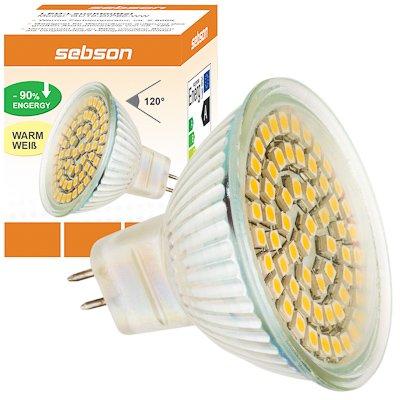 MR16 60 LED [sebson®] (280lm - Warm-Weiß - 60 x 3528 SMD LED - 120º Abstrahlwinkel - MR16 Sockel - 12V DC - 3,5W - Ø50×49mm) von sebson-media - Lampenhans.de