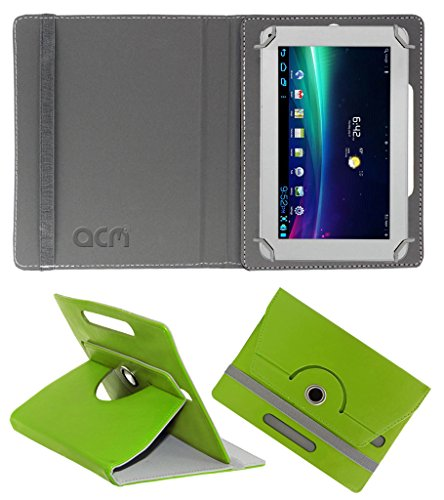 Acm Rotating 360° Leather Flip Case for Ambrane A-707 Cover Stand Green  available at amazon for Rs.149