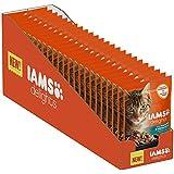 Iams Delights Nassfutter (für erwachsene Katzen, mit Makrele & grüne Bohnen in Gelee), 24 Frischebeutel (24 x 85 g)