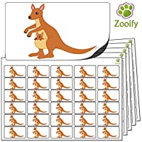 480x Kangaroo Stickers (38 x 21mm) High Quality Self Adhesive Animal Labels By Zooify.