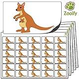 480 x Aufkleber - Känguru (38 x 21 mm). Hochwertige selbstklebende Etiketten mit Tiermotiv von Zooify.