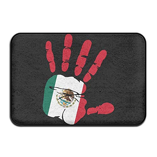 Non Slip Door Mat Outdoor,Indoor/Outdoor Decorative Washable Garden Office Door Mat with Non Slip Backing Inside & Outside Door Mats Handprint Flag Mexico Design Pattern Kitchen White -