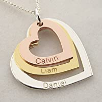 Three Colour Solid Gold Personalised Three Hearts Pendant Necklace With Optional Chain In Gift Box