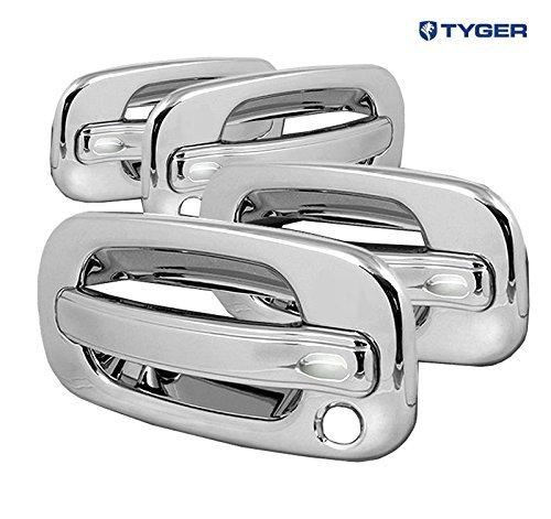 TYGER ABS Triple Chrome Plated Door Handle Cover 02-06 Cadillac Escalade/Chevy Avalanche/00-06 Tahoe/Silverado/Suburban 99-06 GMC Sierra/00-06 Yukon 4 Doors No Keypad With Passenger Keyhole by Tyger Auto