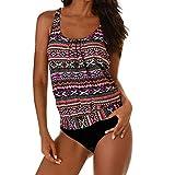 feiXIANG  Damen Tankini Bademode Schwimmanzug Sport Badeanzug Boho Swimwear Strandbadeanzug S-3XL (Heiß Rosa,XXL)