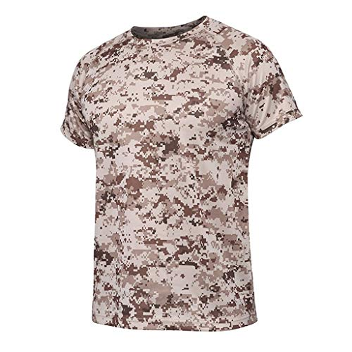 HHyyq Amouflage Short Sleeve for Men - Print/Round Neck/t-Shirt - The New Summer Casual Camouflage Print of Men's Elastic Short-Sleeve t-Shirts(Khaki,M)
