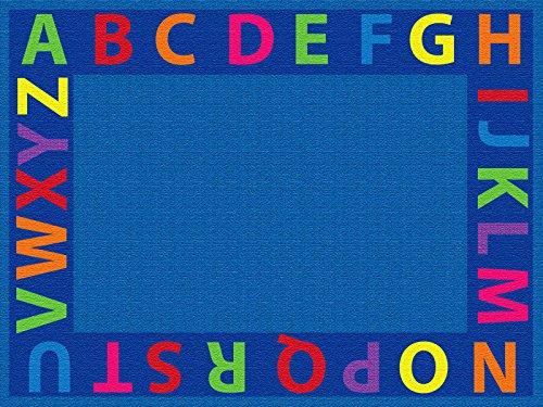 ECR4Kids Große Schule Klassenzimmer Learning Carpet, Klassenzimmer, A-Z Kreis Zeit Educational Platz Teppich für Kinder, rechteckig oder rund, 6' x 9', multi, 1