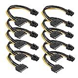 SATA Kabel 15Pin zu 6Pin PCI Express Stromkabel Power Adapter grafikkarten 10 Stück