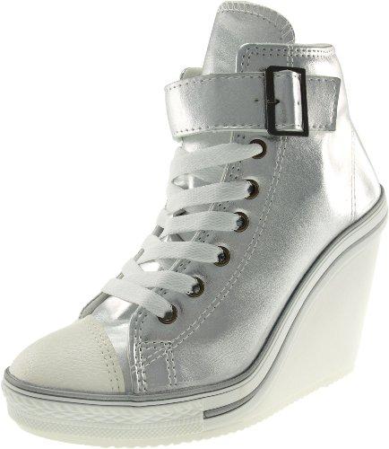 1ba4d42c7794 Maxstar 777 One Belt Zipper Canvas Wedge Heels Shoes Silver UK Women 5 -  Buy Online in Oman.