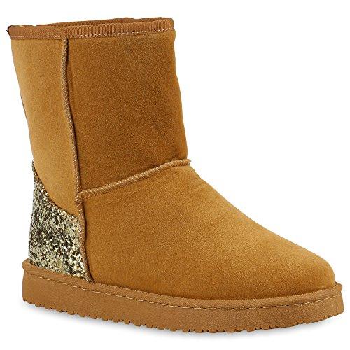 Warm Gefütterte Damen Stiefel Schlupfstiefel Boots Stiefeletten Schuhe 128521 Hellbraun Glitzer 38 Flandell