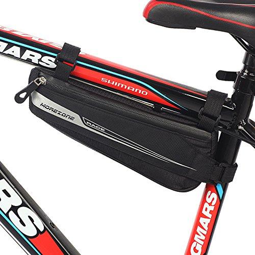 MOREZONE Bicicletta Borse Triangolo per MTB BMX Bici Borsa tubo impermeabile Borse Telaio Bicicletta Materiale jacquard morbido (0.6L 25x9x4cm)