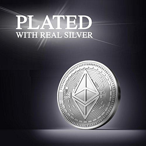 Physische Ethereum Münze mit Echt-Silber überzogen. Wahres Sammlerstück mit Schutzhülle. Ein Muss für jeden Ethereum-Fan + GRATIS E-Book gegen Cyber-Attacken - 2